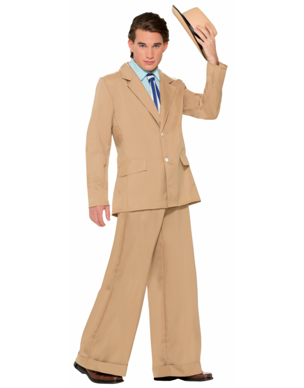 efcad1881 Details about Adults Mens Khaki Roaring 20s Gold Coast Gentleman Gatsby  Costume Large 42-44