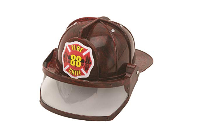 Adult Child Fire Chief Firefighter Fireman Black Helmet with Visor Costume