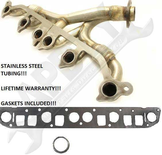 1991 1999 Jeep 4 0L Exhaust Manifold w Stainless Steel Tubes Gasket S
