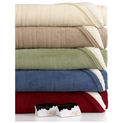 Biddeford 2061-9052140-633 MicroPlush Sherpa Electric Heated Blanket Full Sage