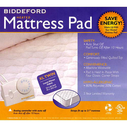 Biddeford Twin Xl Quilted Electric Heated Mattress Pad Ebay