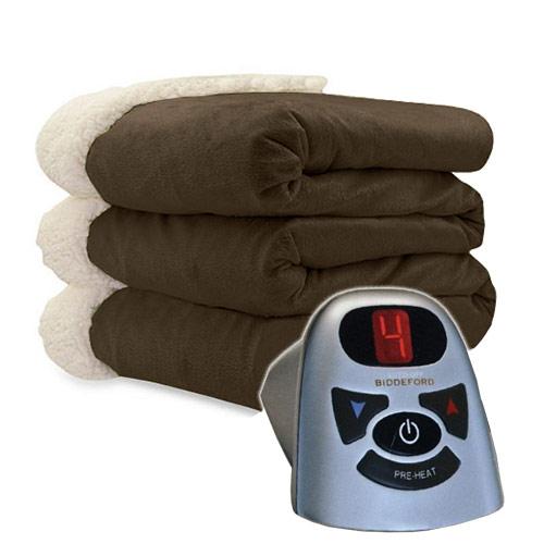 Biddeford Micro Mink And Sherpa Electric Heated Blanket