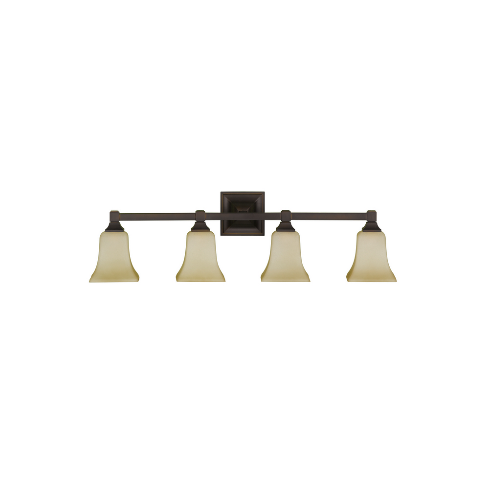 Vanity Light Fixture Oil Rubbed Bronze : Feiss VS12404-ORB American Foursquare 4-Light Vanity Fixture Oil Rubbed Bronze eBay