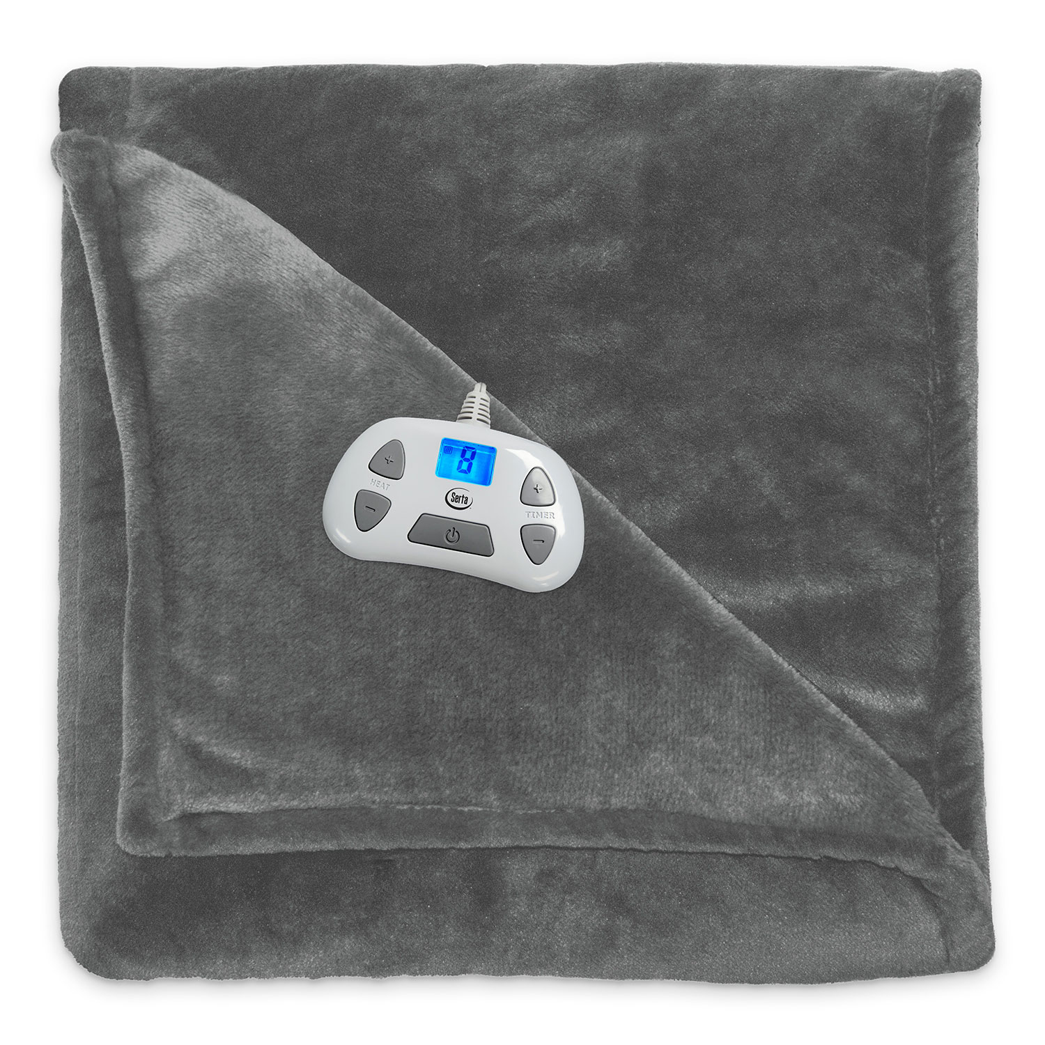 Serta Silky Plush Electric Heated Warming Throw Blanket Digital