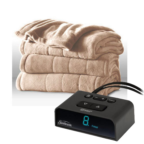 Sunbeam Channeled Microplush Electric Heated Blanket Twin