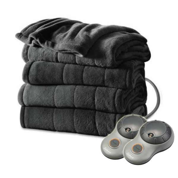 Sunbeam Heated Electric Blanket Channeled Microplush King