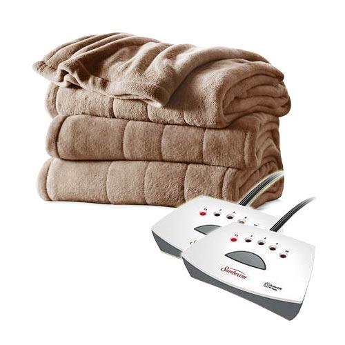 sunbeam channeled velvet plush electric heated blanket twin full queen king size ebay. Black Bedroom Furniture Sets. Home Design Ideas