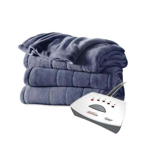 Sunbeam Channeled Velvet Plush Electric Heated Blanket