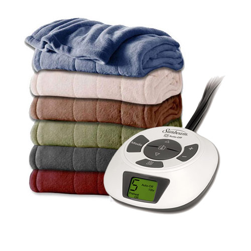 Sunbeam Channeled Velvet Plush Electric Heated Blankets