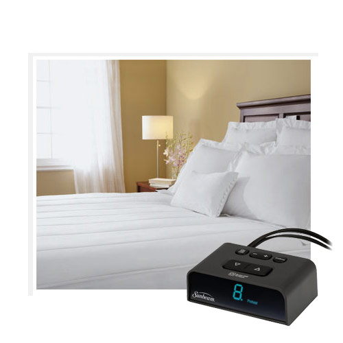 sunbeam thermofine quilted striped heated electric mattress pad full size ebay. Black Bedroom Furniture Sets. Home Design Ideas