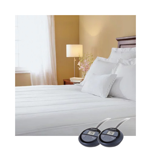Sunbeam Quilted Heated Electric Mattress Pad Stripe ...