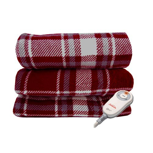 sunbeam microplush electric heated throw blanket assorted colors patterns. Black Bedroom Furniture Sets. Home Design Ideas