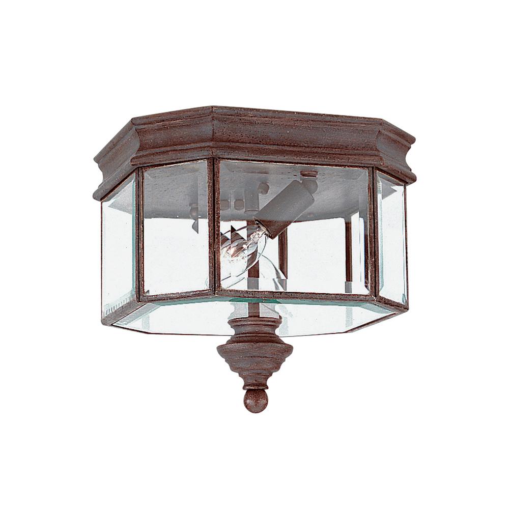 gull lighting 8834 08 2 light outdoor ceiling flush mount rust patina