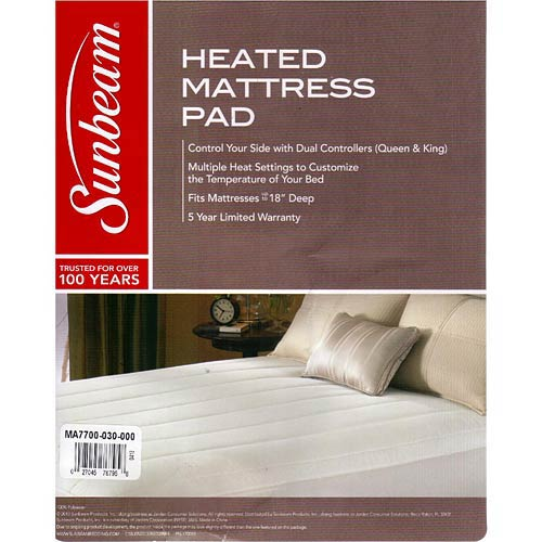 Sunbeam Quilted Striped Heated Electric Mattress Pad Twin ...