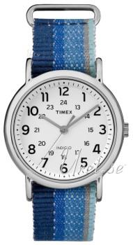 Timex Unisex Tw2r102009j Weekender Blue Striped Denim Slip Thru Strap Watch