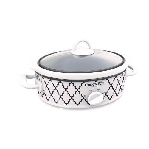 Crock-Pot SCCPCCM250N-BT-WM Casserole Crock 2.5-Quart Oval Slow Cooker Blue White Trellis