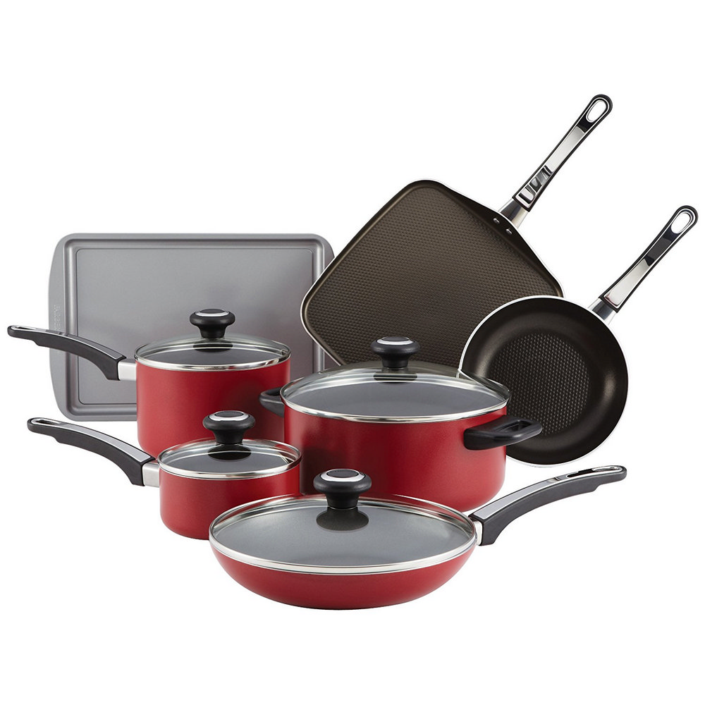 Farberware 21567 High Performance Aluminum Nonstick 12 Piece Cookware Set Red