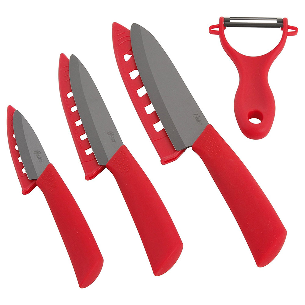Oster Ostead 4-Piece Ceramic Blade with Sheath Cutlery Set Red