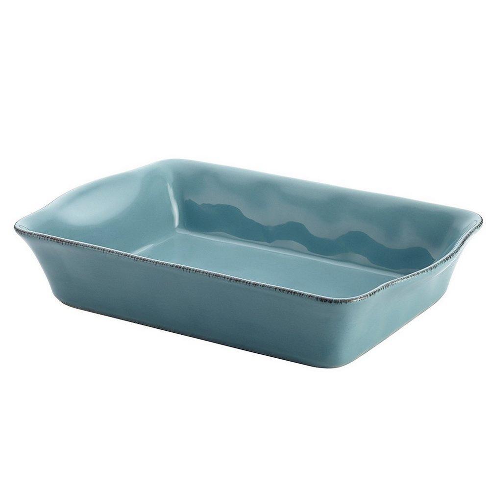 Rachael Ray Cucina Stoneware 9-Inch x 13-Inch Rectangular Baker Agave Blue 58324
