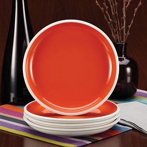Rachael Ray Dinnerware Rise Collection 4-Piece Stoneware Salad Plate Set Orange 58716
