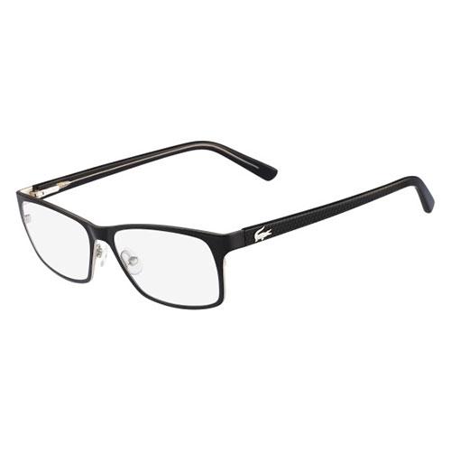 lacoste mens eyeglasses l2172 001 black silver square