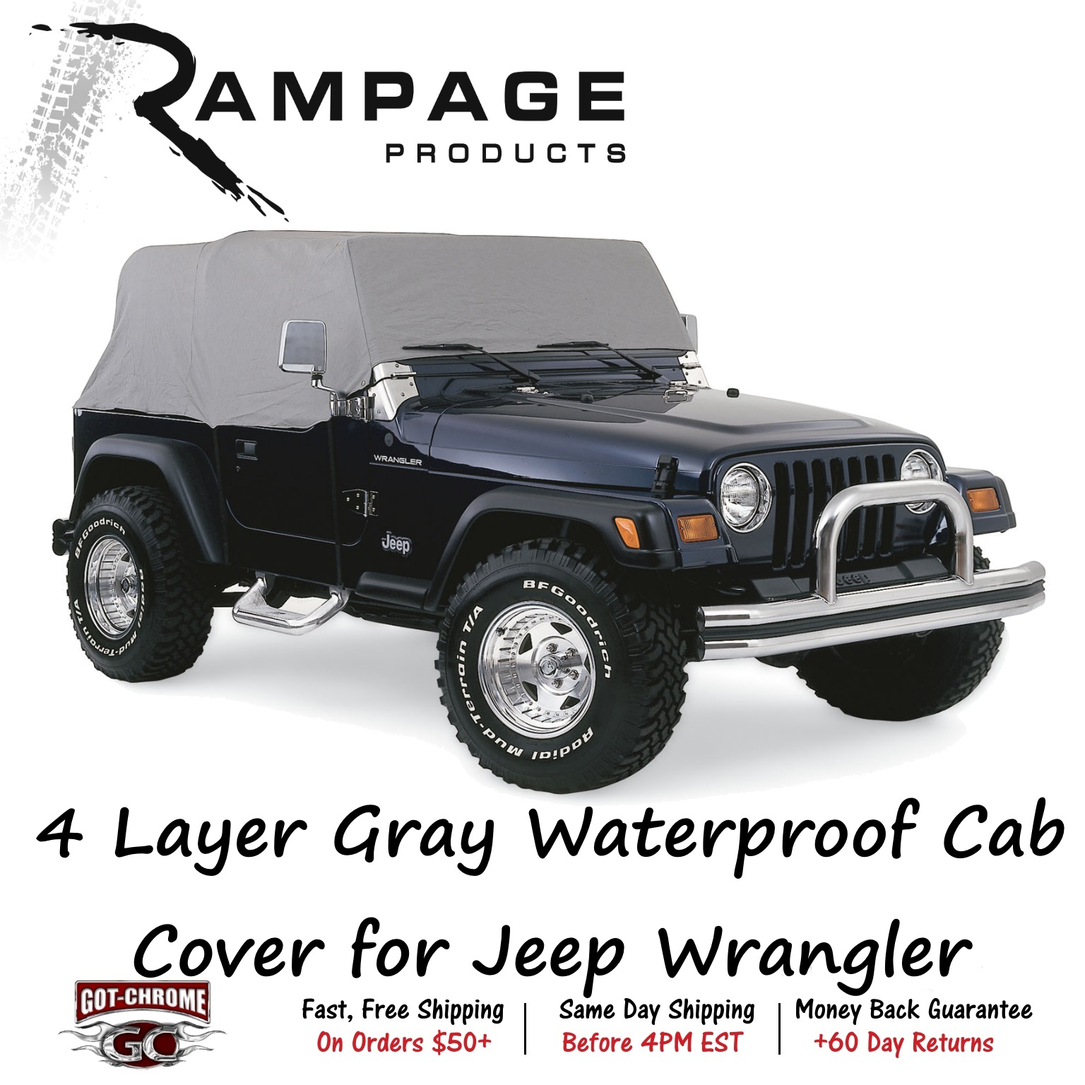 Image is loading 1261-R&age-4-Layer-Gray-Cab-Cover-for-  sc 1 st  eBay & 1261 Rampage 4 Layer Gray Cab Cover for Jeep Wrangler 2-door | eBay