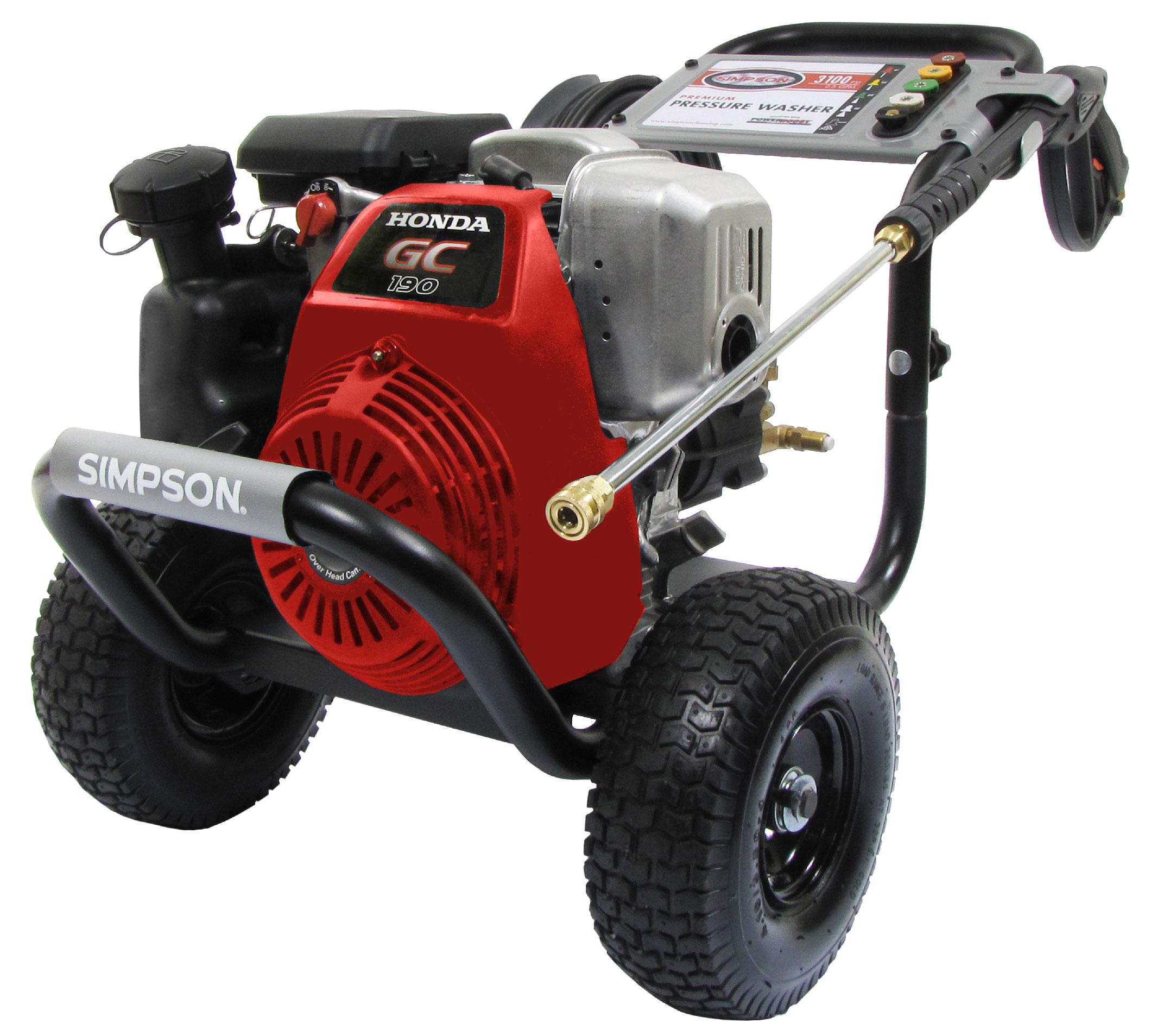 Simpson megashot 3100 psi 2 5 gpm honda gc190 engine gas for Power washer with honda motor
