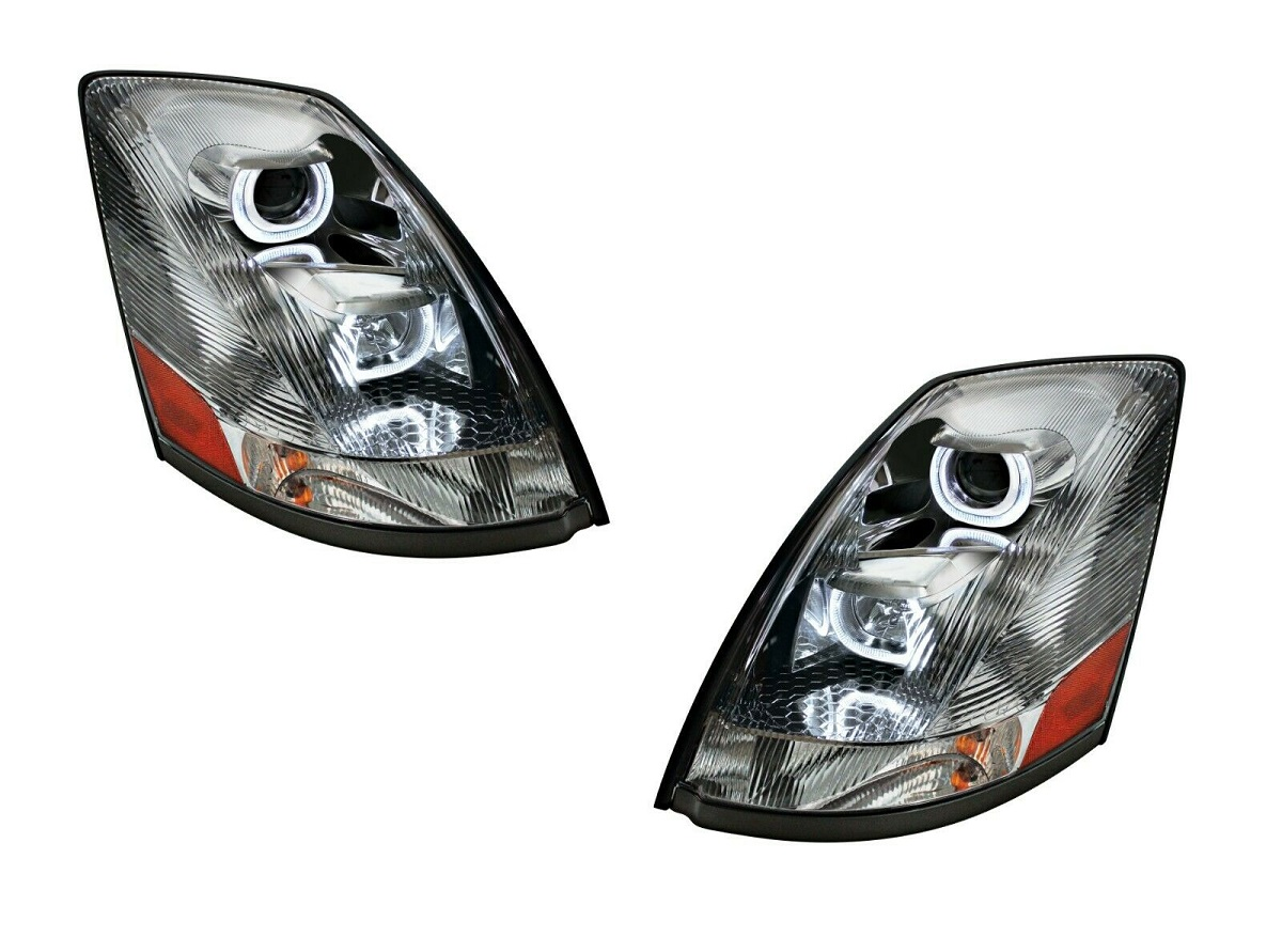 "Pair /""Blackout/"" Projection Headlights W// Dual LED Halo for 2004-17 Volvo VN//VNL"