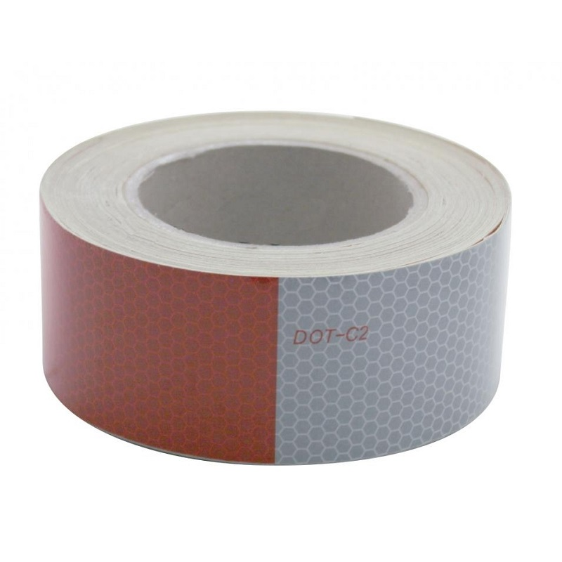"""Reflective Tape Red White Safety Truck RV DOT-C2 Conspicuity 2/"""" wide x 6/""""inch"""
