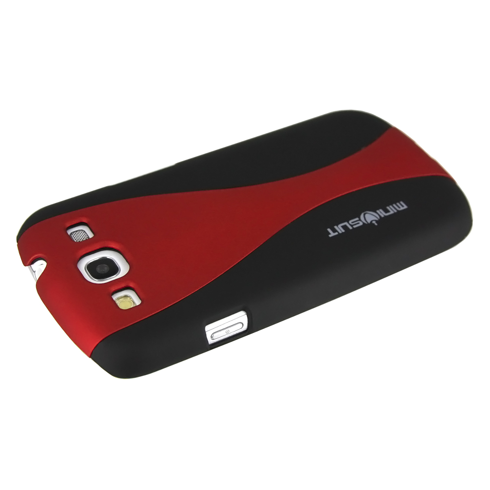 MiniSuit Rubber Back Case Cover for Samsung Galaxy S3 III i9300 (Alien Duo Black + Red)