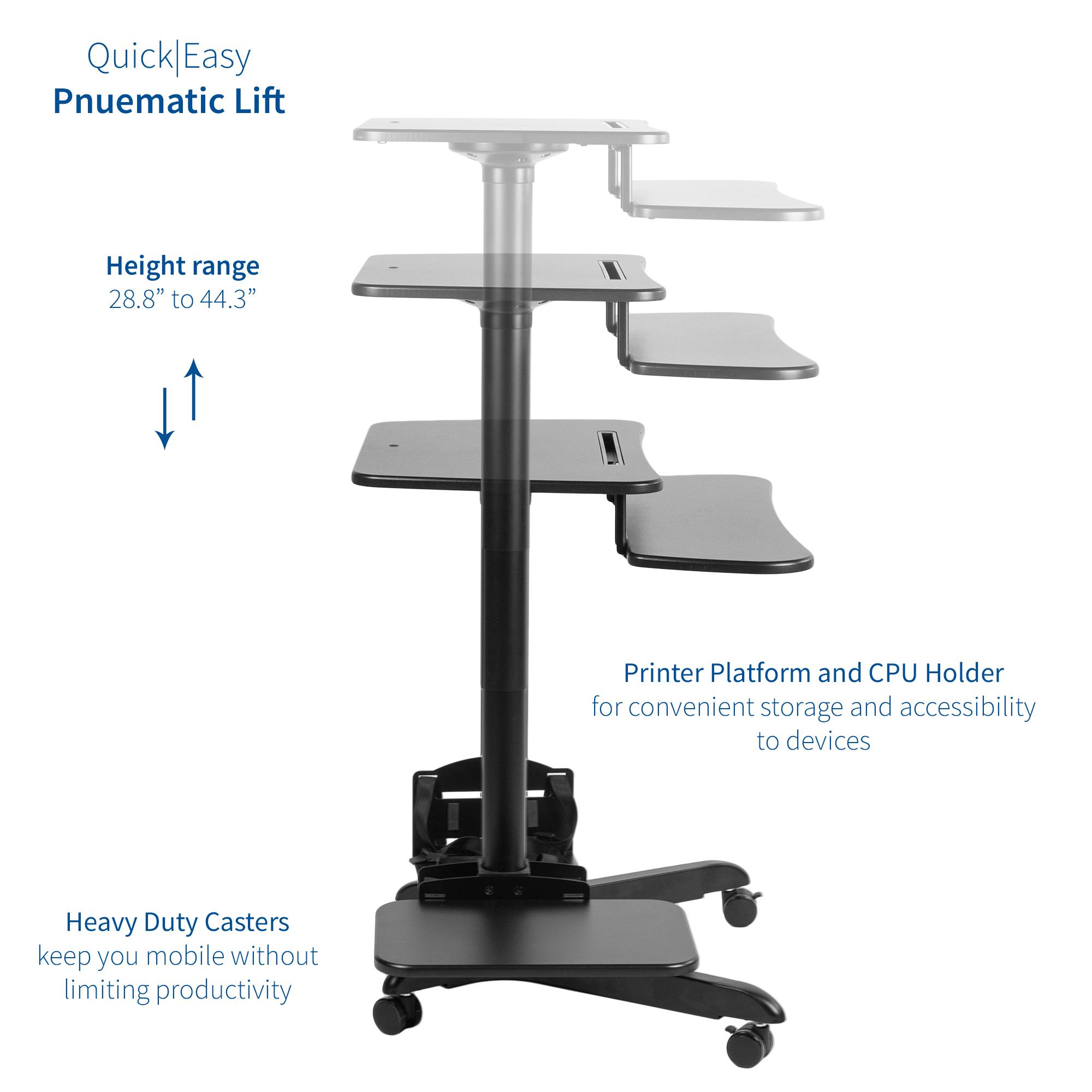 Vivo Black Mobile Pneumatic Height Adjustable Stand Up Desk Presentation Cart Ebay