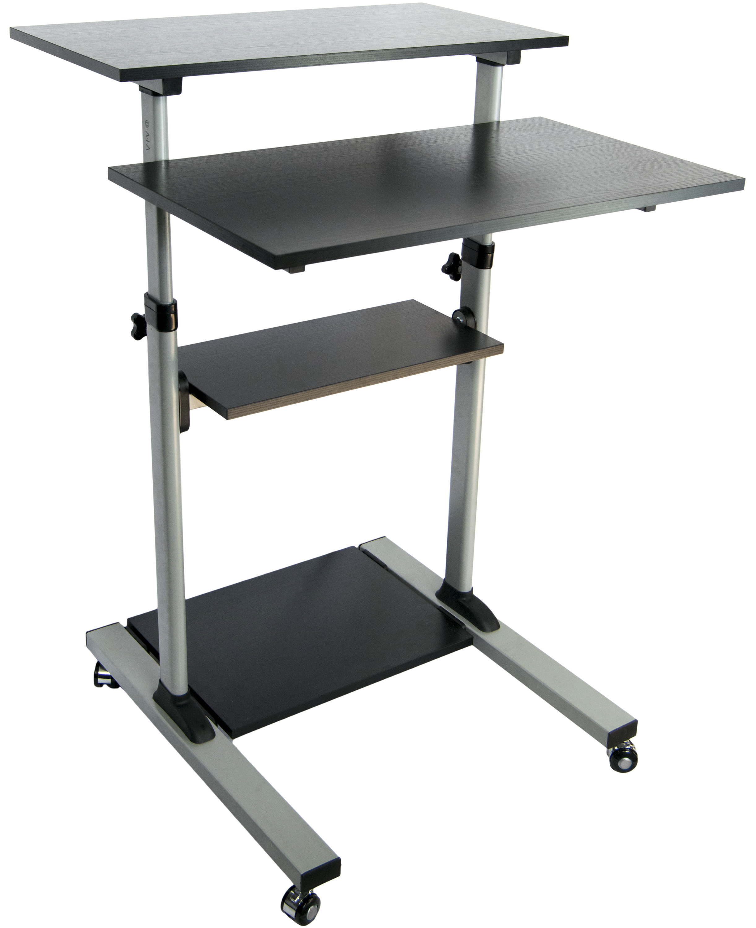 mobile height adjustable stand up desk computer work station presentation cart ebay. Black Bedroom Furniture Sets. Home Design Ideas