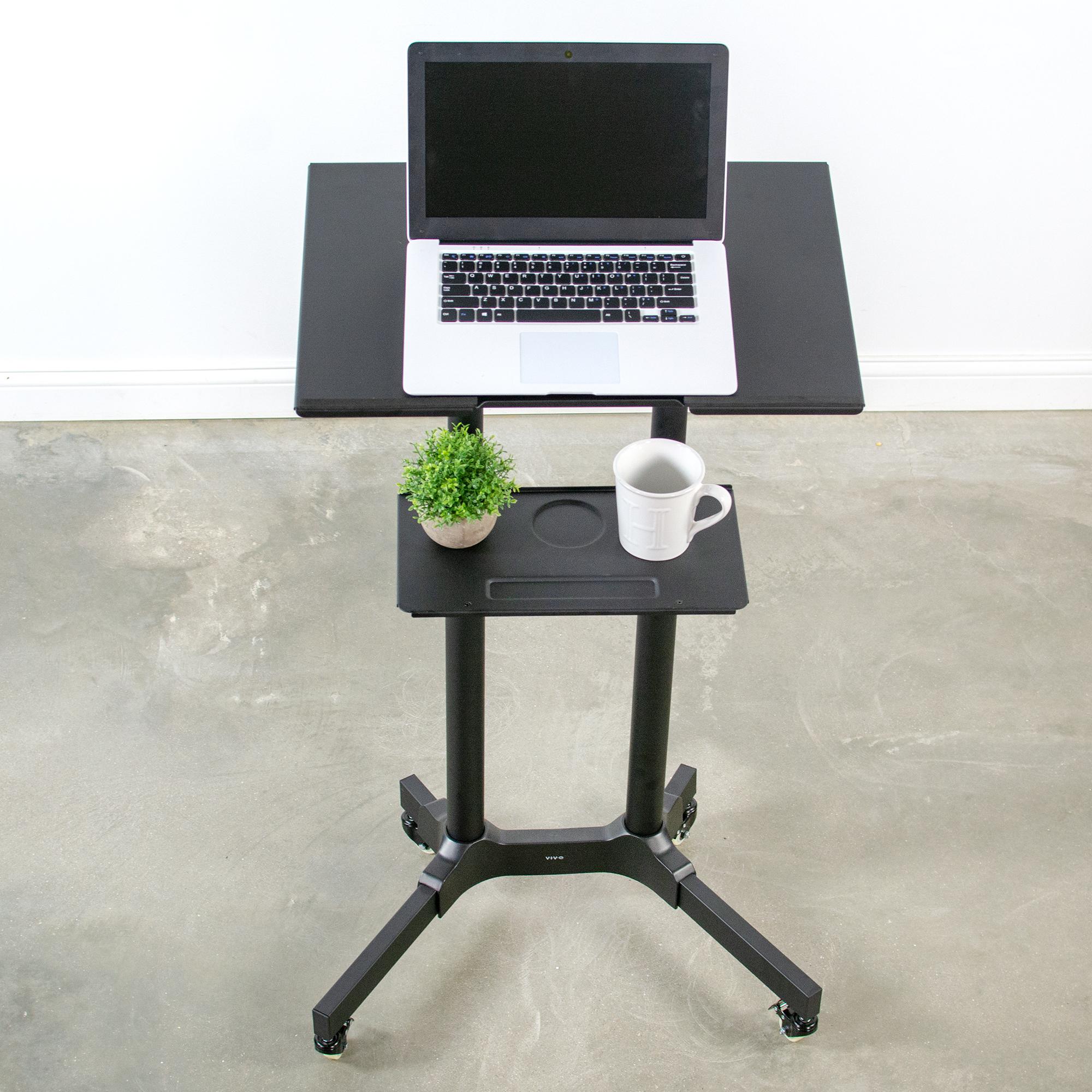 """USED Black Mobile 24/"""" Height AdjustableRolling Podium Lectern Laptop Workstation"""