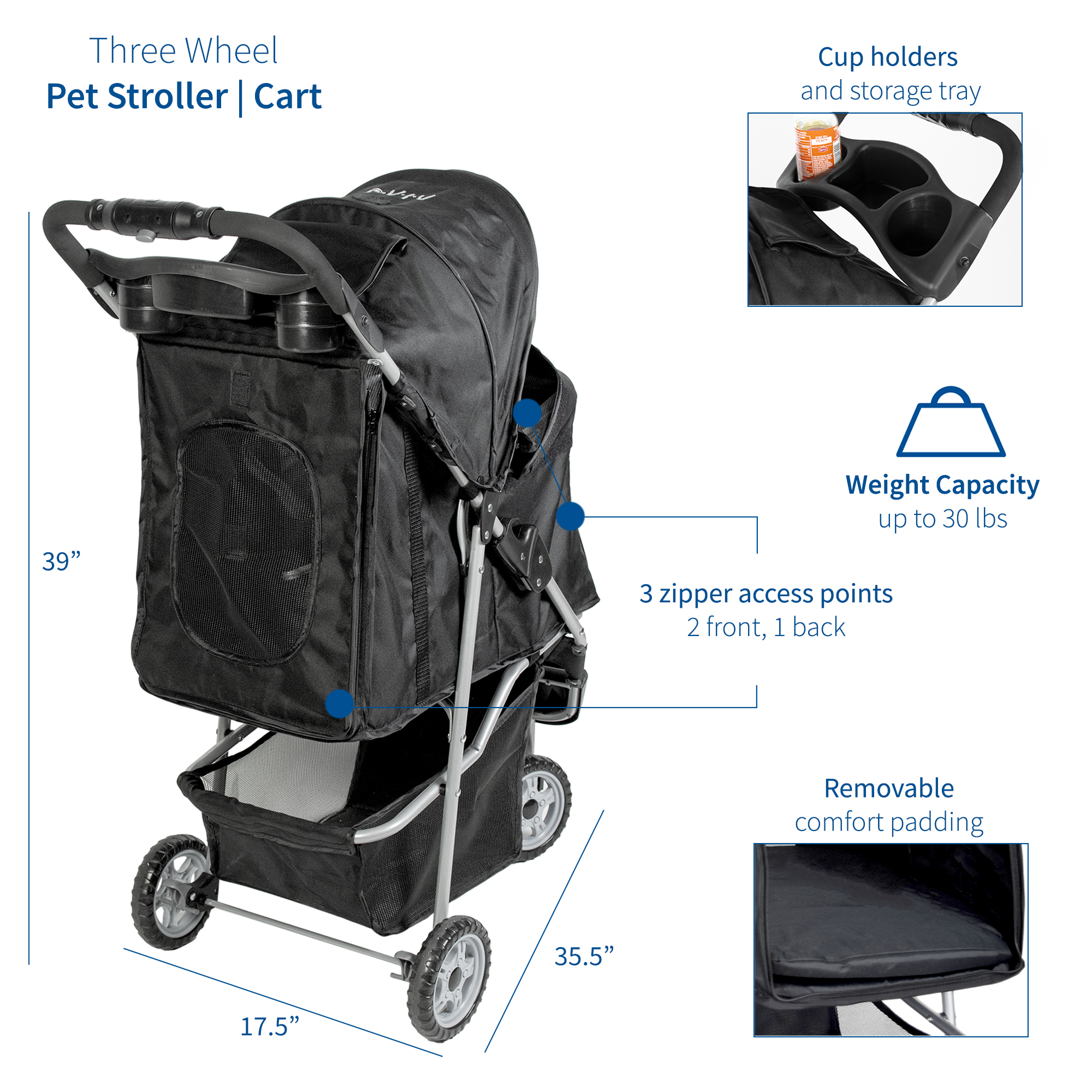 thumbnail 4 - VIVO Three Wheel Pet Stroller / Cat & Dog Foldable Carrier Strolling Cart
