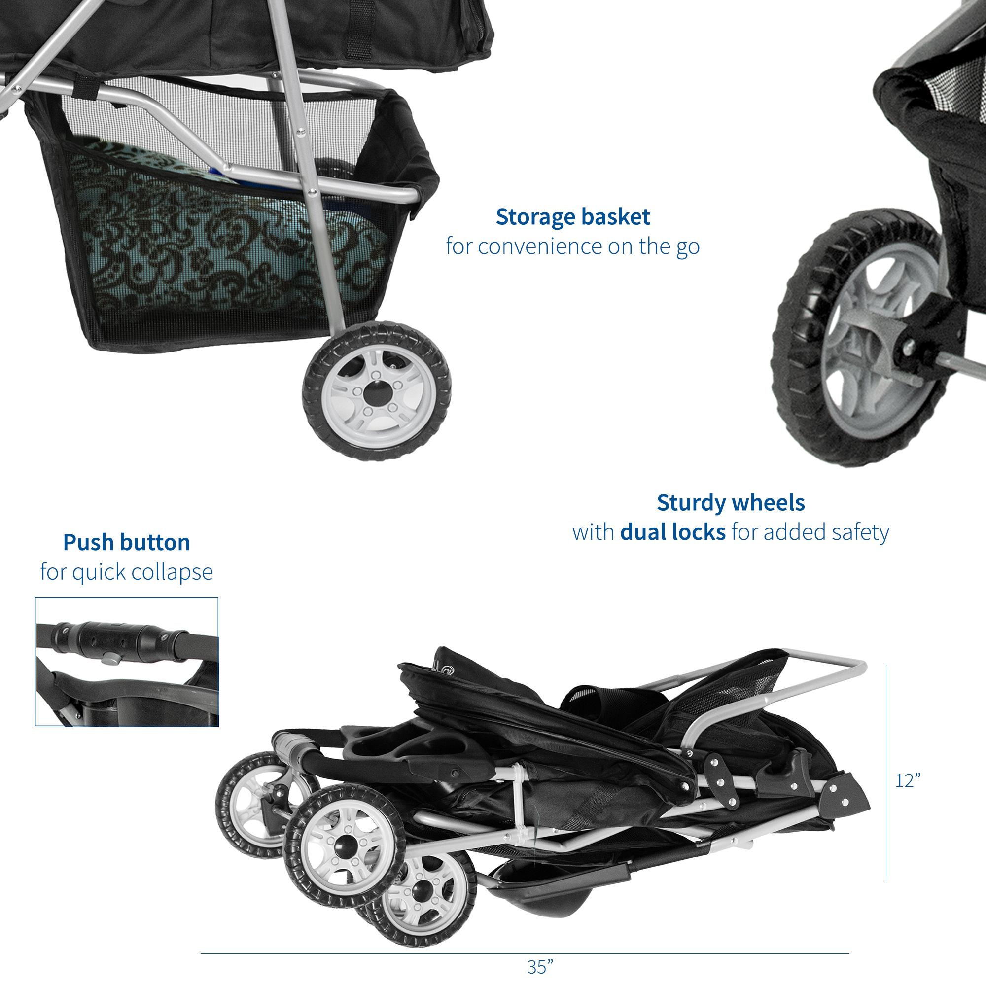 thumbnail 5 - VIVO Three Wheel Pet Stroller / Cat & Dog Foldable Carrier Strolling Cart
