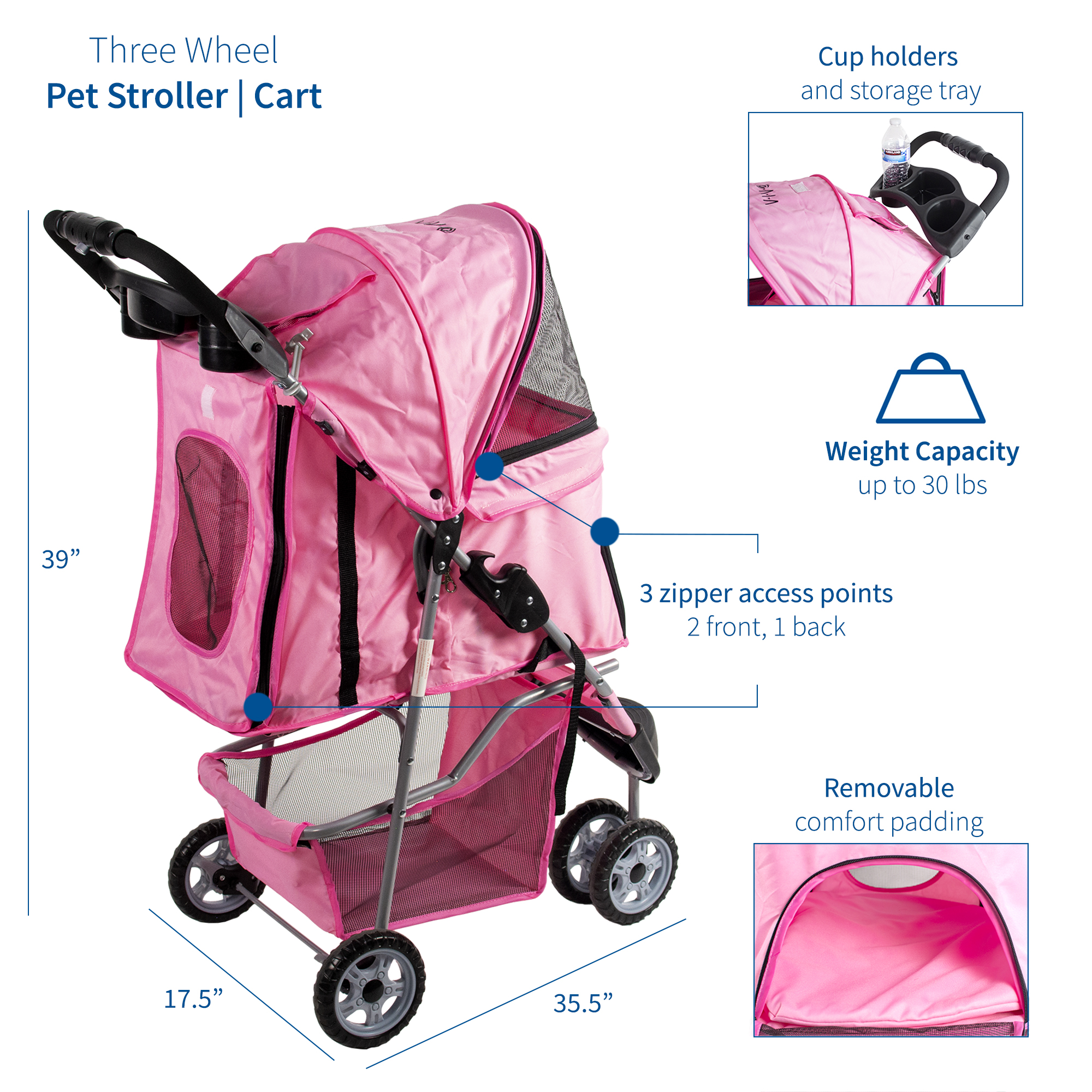 thumbnail 14 - VIVO Three Wheel Pet Stroller / Cat & Dog Foldable Carrier Strolling Cart