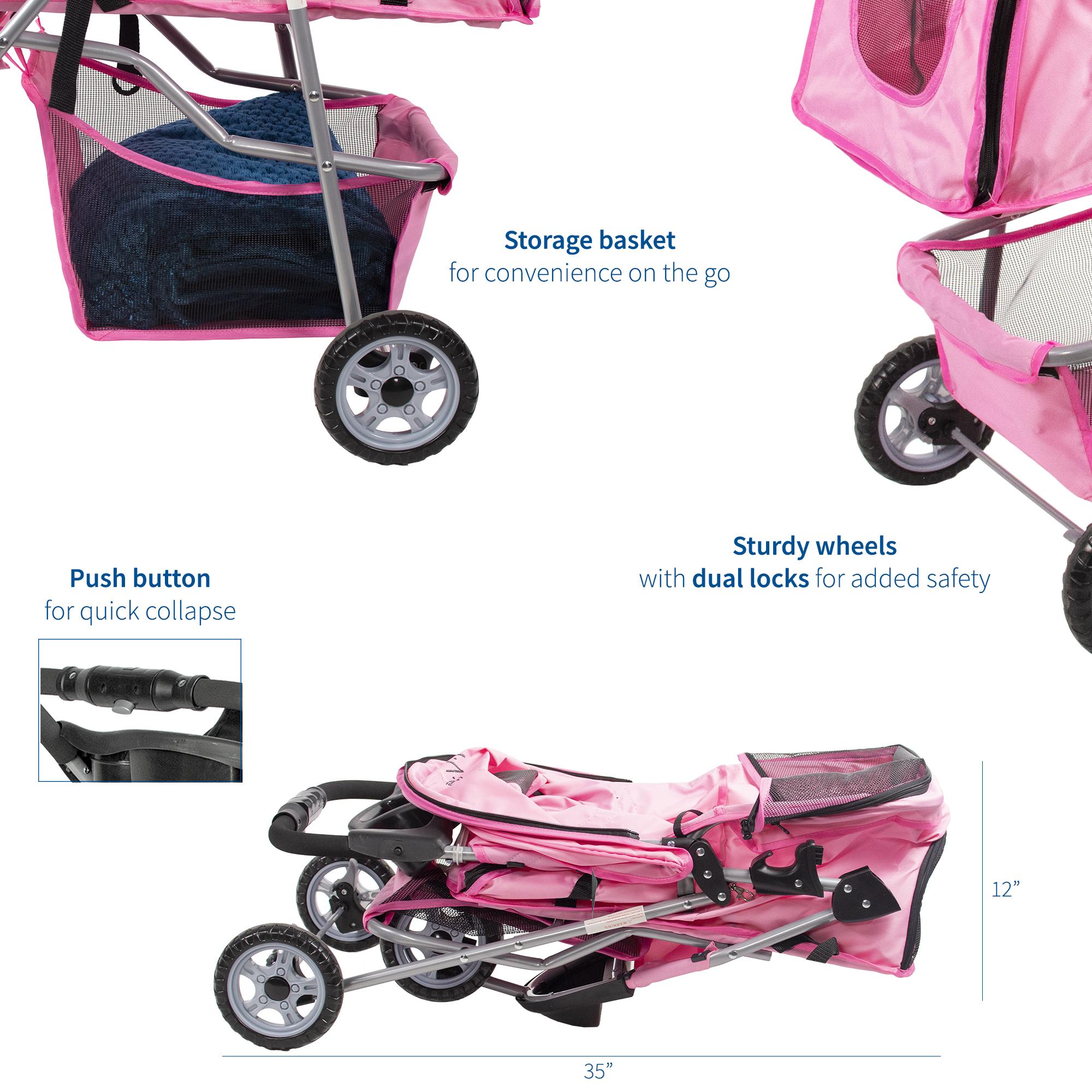 thumbnail 15 - VIVO Three Wheel Pet Stroller / Cat & Dog Foldable Carrier Strolling Cart