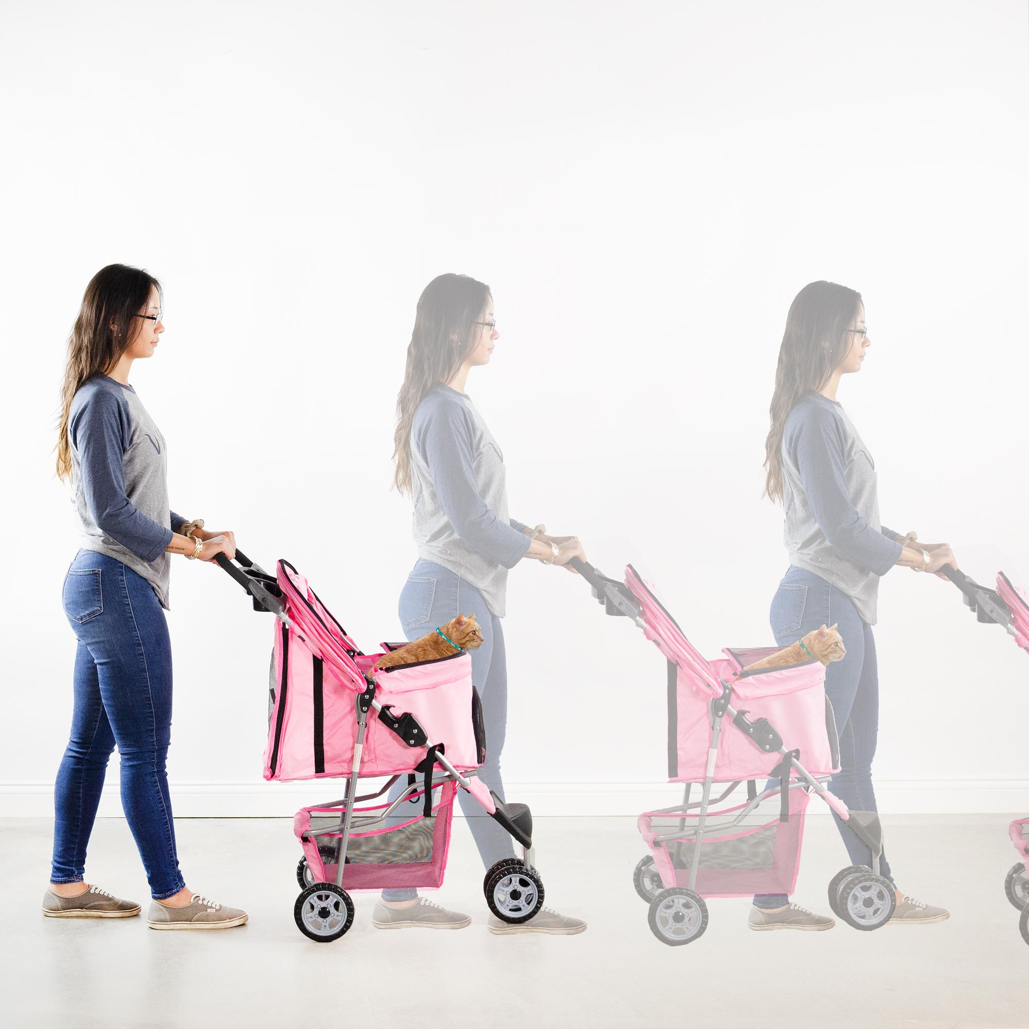 thumbnail 16 - VIVO Three Wheel Pet Stroller / Cat & Dog Foldable Carrier Strolling Cart