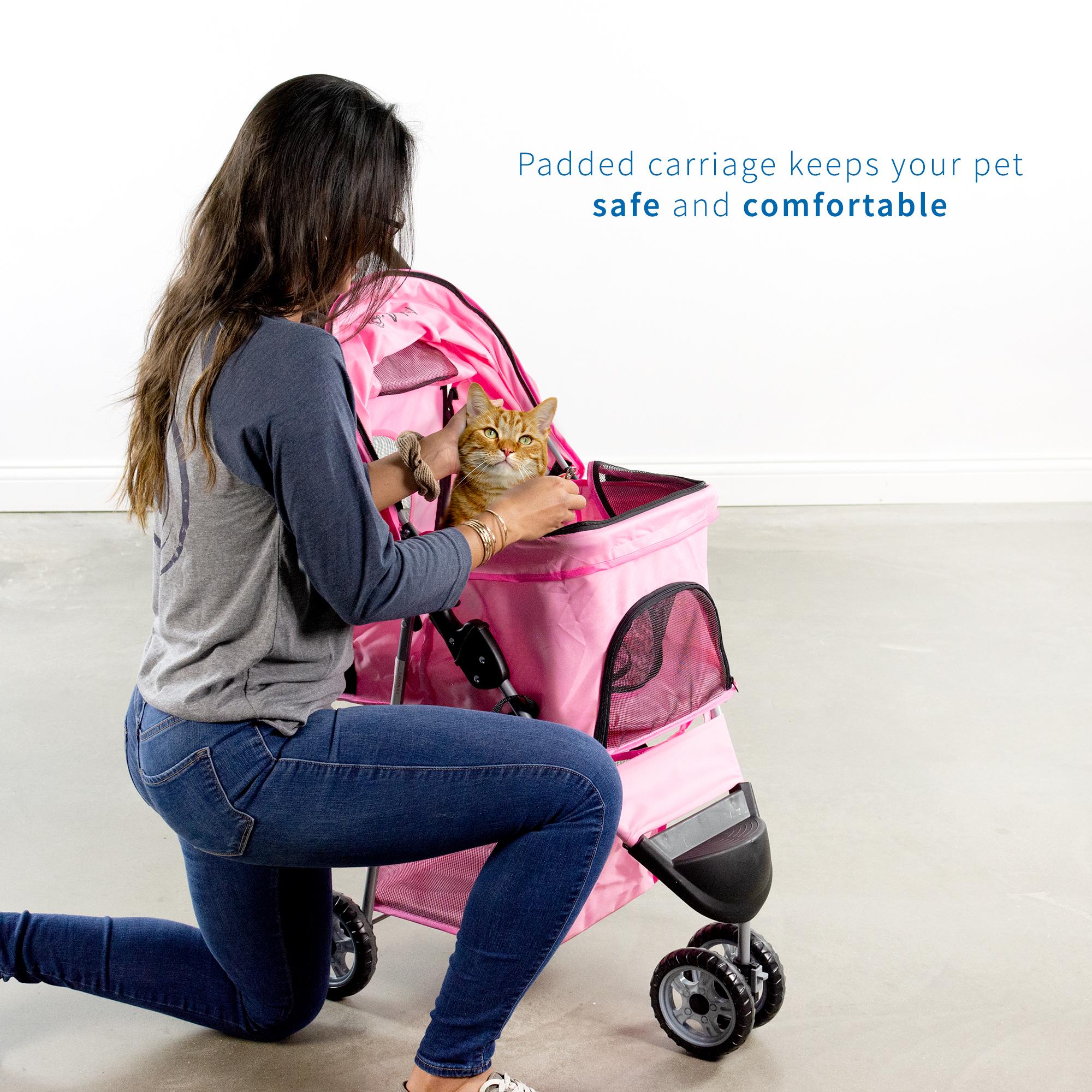thumbnail 17 - VIVO Three Wheel Pet Stroller / Cat & Dog Foldable Carrier Strolling Cart