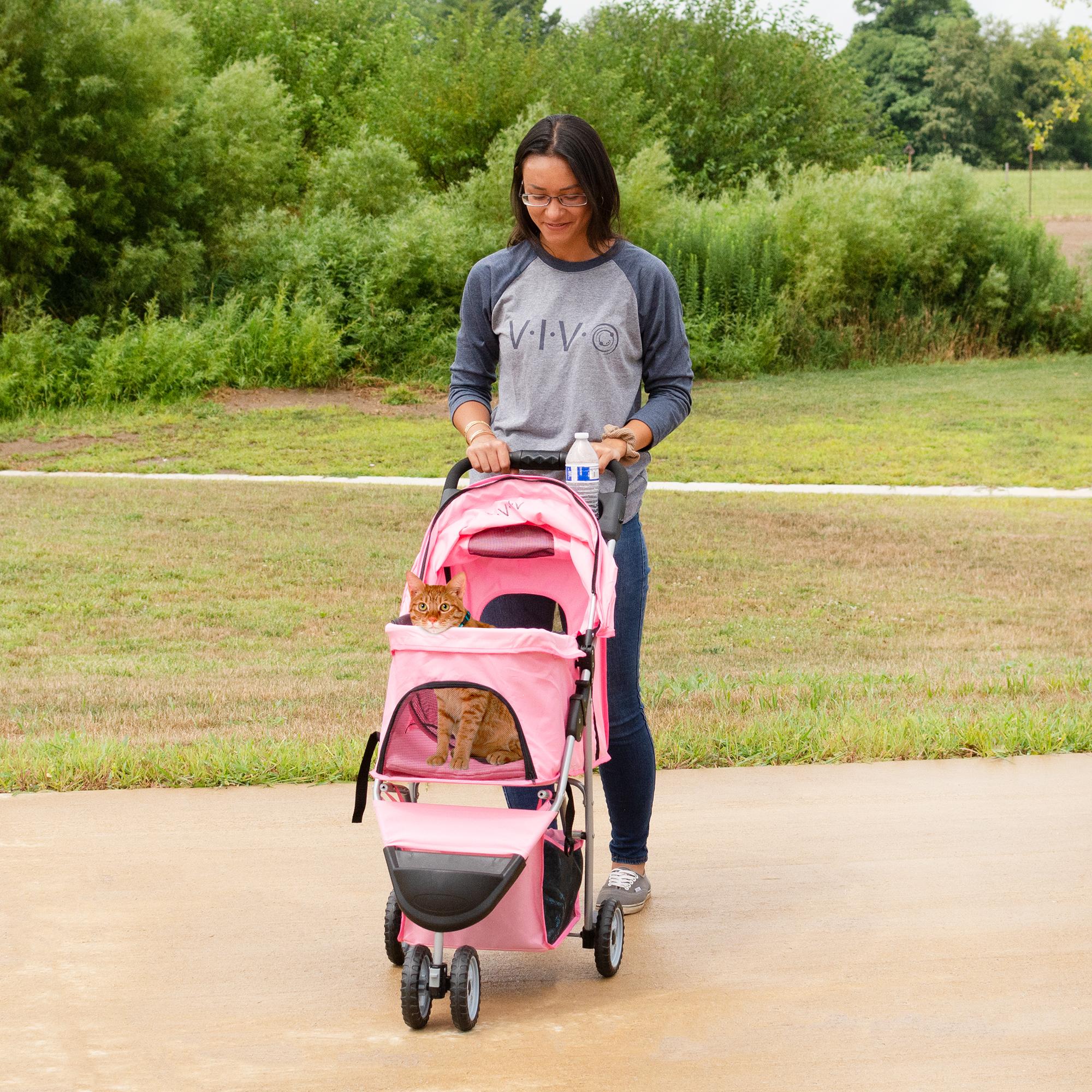 thumbnail 19 - VIVO Three Wheel Pet Stroller / Cat & Dog Foldable Carrier Strolling Cart