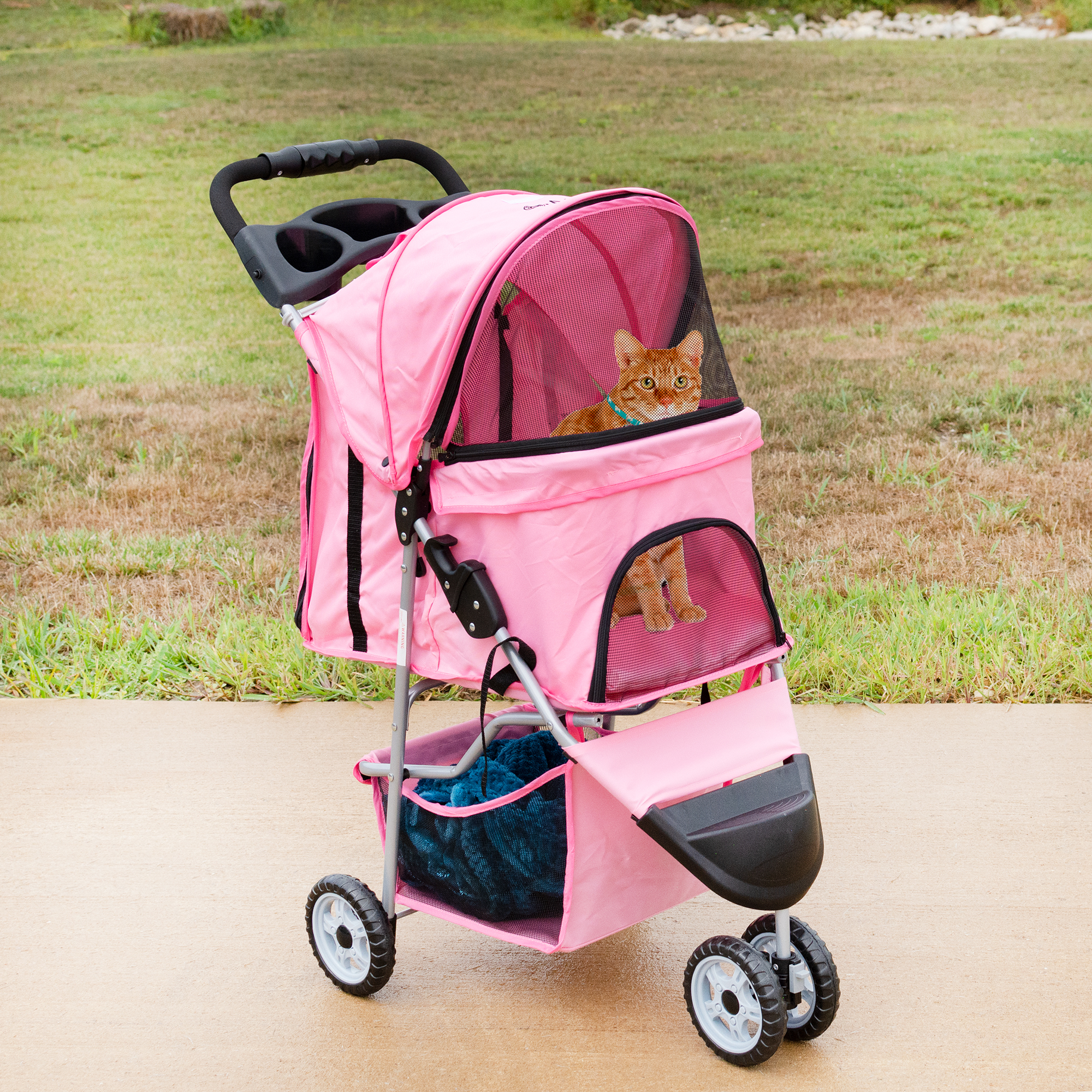 thumbnail 20 - VIVO Three Wheel Pet Stroller / Cat & Dog Foldable Carrier Strolling Cart