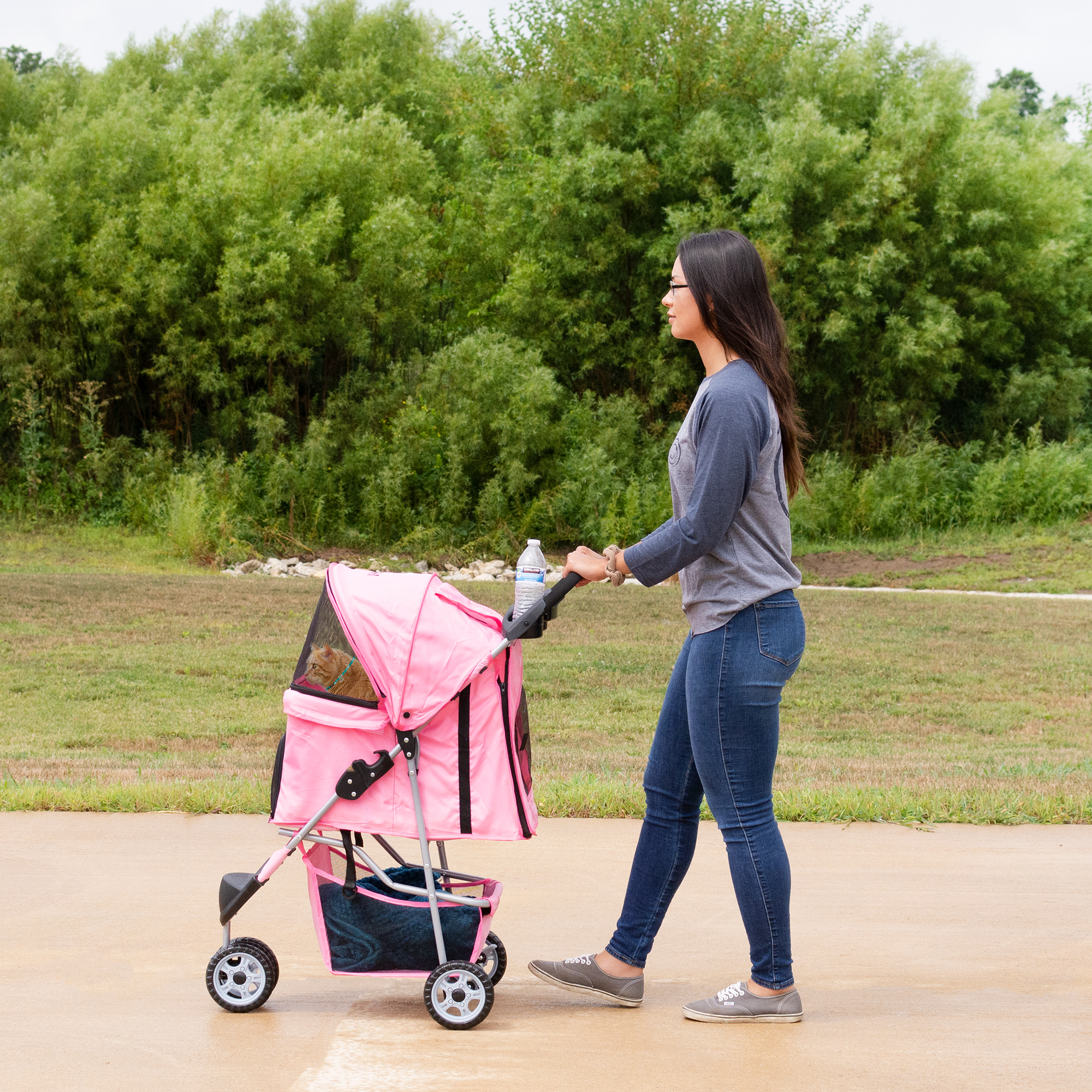 thumbnail 22 - VIVO Three Wheel Pet Stroller / Cat & Dog Foldable Carrier Strolling Cart