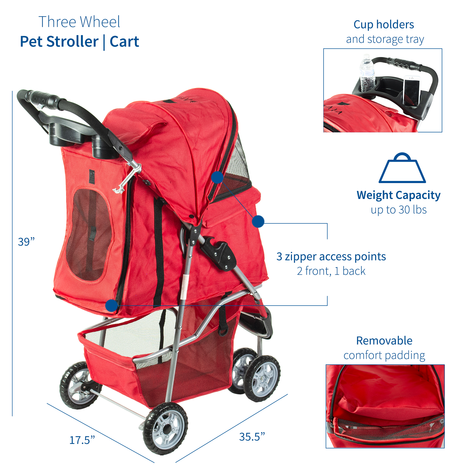 thumbnail 24 - VIVO Three Wheel Pet Stroller / Cat & Dog Foldable Carrier Strolling Cart