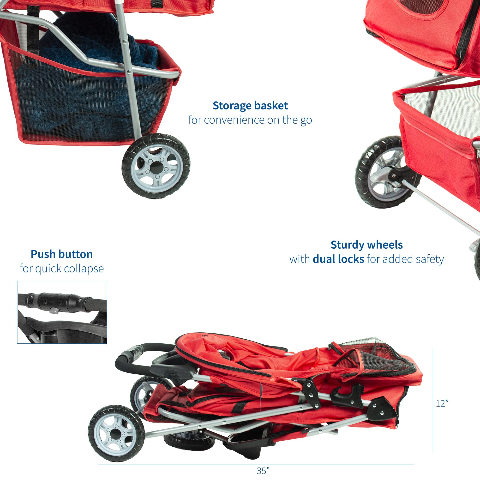 thumbnail 25 - VIVO Three Wheel Pet Stroller / Cat & Dog Foldable Carrier Strolling Cart