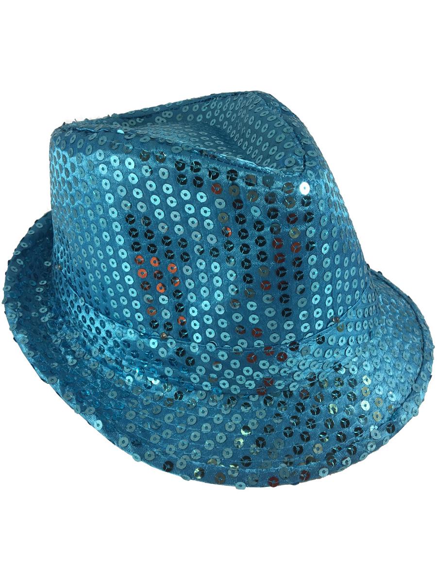 9f880dc2bd8 Adults Royal Blue Light Up Sequin Gangster Fedora Hat Costume ...