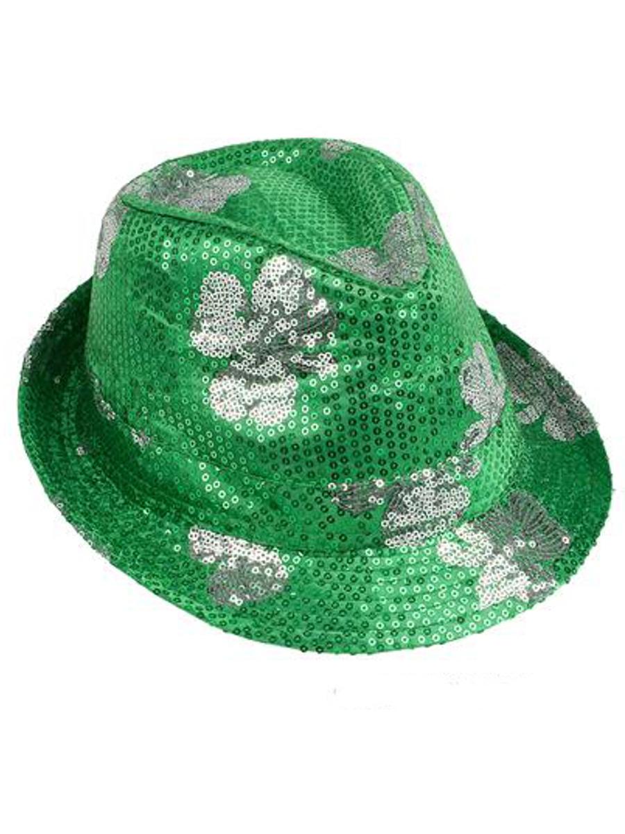 b4dfa3f4e9dbc Saint Patrick s Day Green Sequin Shamrock Fedora Hat Costume ...