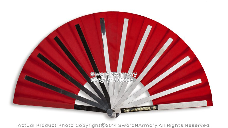 Martial-Art-Tai-Chi-Kung-Fu-Fighting-Fan-Steel-Frame-with-Dragon-Black-Blue-Red thumbnail 20