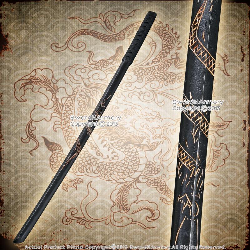 "Single 40/"" Dragon Datio Bokken Kendo Practice Wood Sword with Black Cord Wrap"