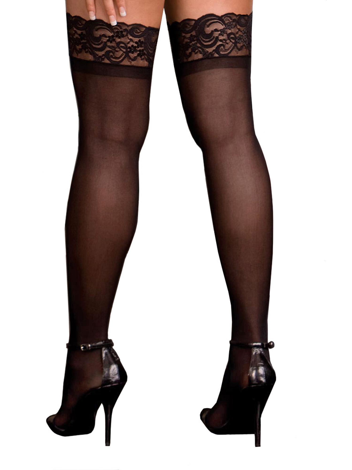 e3d3624b200 Plus Size Hosiery Lingerie Lace Top Sheer Thigh High Stocking- Fits ...