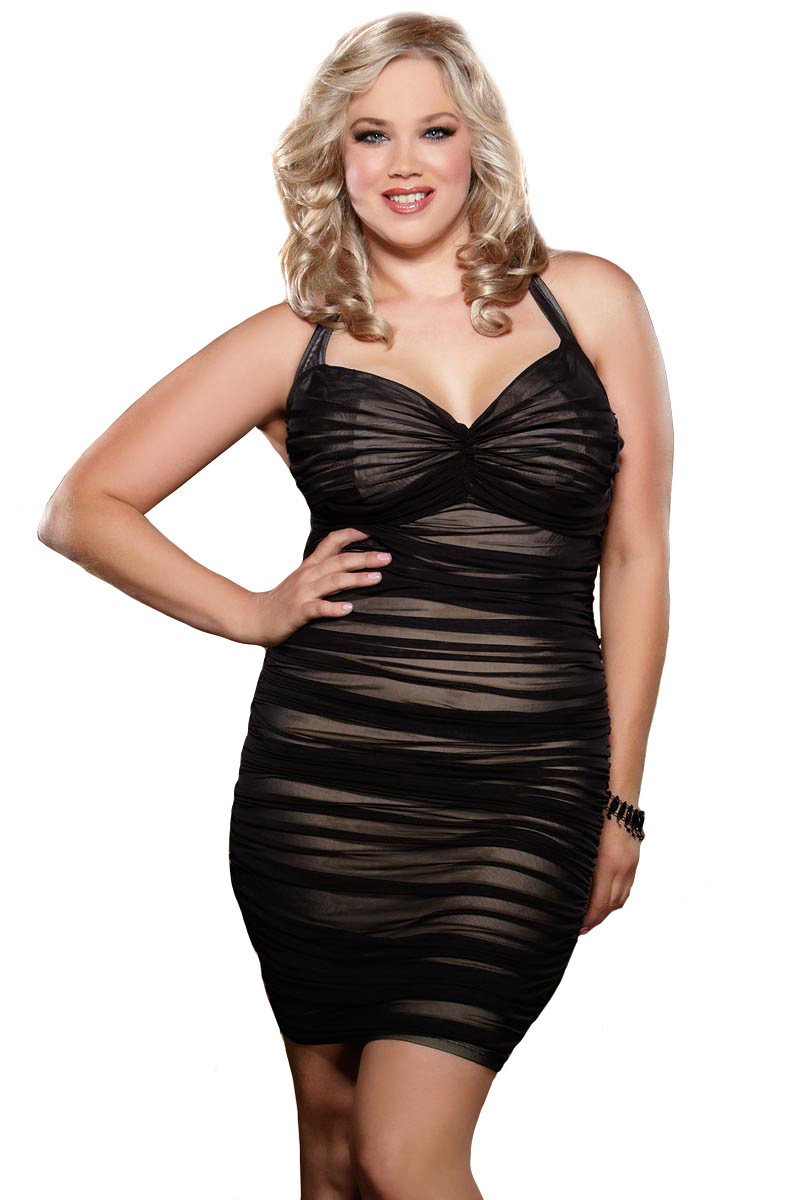 Sexy Plus Size Lingerie Ruched Mini Dress